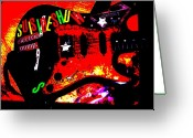 Rock And Roll Glass Greeting Cards - Broken Epi Greeting Card by Curt Curt