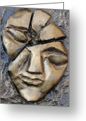 Face Reliefs Greeting Cards - Broken Face Greeting Card by Rajesh Chopra