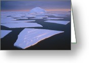 Ice-floe Greeting Cards - Broken Fast Ice, Under Impending Greeting Card by Tui De Roy