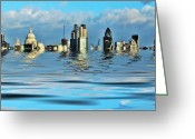 Flooded Greeting Cards - Broken flood barrier Greeting Card by Sharon Lisa Clarke