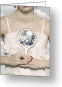 Earring Greeting Cards - Broken Handmirror Greeting Card by Joana Kruse