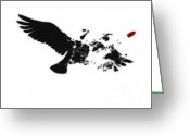 Stencil Greeting Cards - Broken Peace Greeting Card by Pixel Chimp
