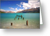 Horizon Over Water Greeting Cards - Broken Pier At Sea Greeting Card by Photography By Anthony Ko
