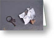 Keys Drawings Greeting Cards - Broken promise - 2 Greeting Card by Elena Kolotusha