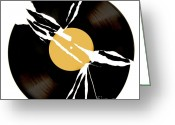 Vinyl Greeting Cards - Broken record Greeting Card by Bernard Jaubert