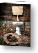 Weathered Greeting Cards - Broken Toilet Greeting Card by Carlos Caetano