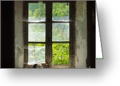 Indoors Greeting Cards - Broken window. Greeting Card by Bernard Jaubert