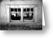 Shed Greeting Cards - Broken Windows Greeting Card by Cheryl Young