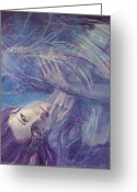 White And Purple Wings Greeting Cards - Broken wings Greeting Card by Dorina  Costras