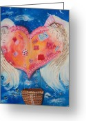 Hot Air Balloon Mixed Media Greeting Cards - Broken Wings Shall Fly Once More Greeting Card by Tara Shuey
