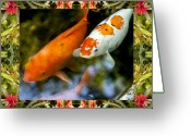 Bromeliad Greeting Cards - Bromeliad Koi Greeting Card by Bell And Todd