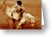 Bronc Greeting Cards - Bronc riding 5 Greeting Card by Leland Howard