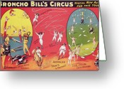 Birmingham Greeting Cards - Bronco Bills Circus Greeting Card by English School