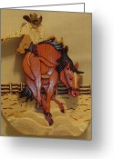 Horse Sculpture Greeting Cards - Broncobuster Greeting Card by Russell Ellingsworth