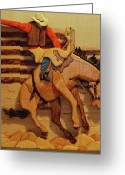 Horse Sculpture Greeting Cards - Broncrider Greeting Card by Russell Ellingsworth