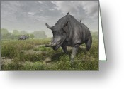 Animal Themes Digital Art Greeting Cards - Brontotherium Wander The Lush Late Greeting Card by Walter Myers