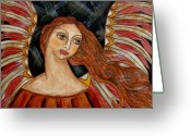 Religious Art Painting Greeting Cards - Bronze Angel Greeting Card by Rain Ririn