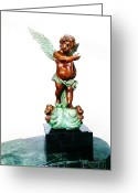 Flying Sculpture Greeting Cards - Bronze Angel Greeting Card by Unique Consignment