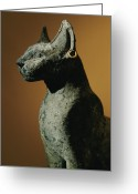 Domestic Scenes Greeting Cards - Bronze Statue Of Cat Representing Greeting Card by Kenneth Garrett