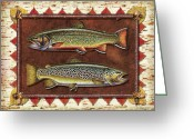 Lodge Greeting Cards - Brook and Brown Trout Lodge Greeting Card by JQ Licensing