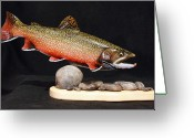 Spring Sculpture Greeting Cards - Brook Trout 14 inch Greeting Card by Eric Knowlton