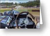 Signature Painting Greeting Cards - Brooklands From the Hot Seat  Greeting Card by Richard Wheatland