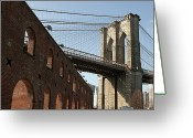 New York State Greeting Cards - Brooklyn Bridge & Empire Fulton Ferry State Park Greeting Card by Just One Film