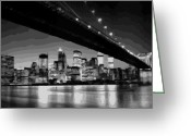 The Capital Of The World Greeting Cards - Brooklyn Bridge @ Night BW16 Greeting Card by Scott Kelley