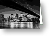 The Capital Of The World Greeting Cards - Brooklyn Bridge @ Night BW8 Greeting Card by Scott Kelley