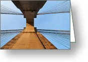 Midtown Greeting Cards - Brooklyn Bridge Abstract Greeting Card by Svetlana Sewell