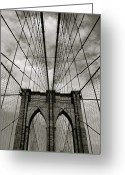 Black Cloud Greeting Cards - Brooklyn Bridge Greeting Card by Adrian Hopkins