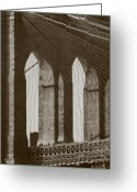 Gothic Arch Greeting Cards - Brooklyn Bridge Afternoon Greeting Card by Christopher Kirby