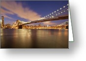 Suspension Bridge Greeting Cards - Brooklyn Bridge And Manhattan At Night Greeting Card by J. Andruckow