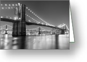 Illuminated Greeting Cards - Brooklyn Bridge At Night Greeting Card by Adam Garelick