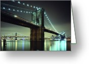 Manhattan Greeting Cards - Brooklyn Bridge At Night, New York City Greeting Card by Andrew C Mace
