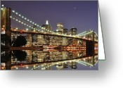 Illuminated Greeting Cards - Brooklyn Bridge At Night Greeting Card by Sean Pavone
