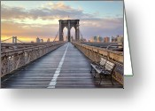 Bench Greeting Cards - Brooklyn Bridge At Sunrise Greeting Card by Anne Strickland Fine Art Photography