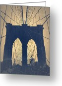 Manhattan Digital Art Greeting Cards - Brooklyn Bridge Blue Greeting Card by Irina  March