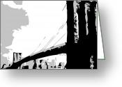 The Capital Of The World Greeting Cards - Brooklyn Bridge BW Greeting Card by Scott Kelley