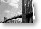 The Capital Of The World Greeting Cards - Brooklyn Bridge BW16 Greeting Card by Scott Kelley