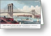 1871 Greeting Cards - Brooklyn Bridge by Currier and Ives Greeting Card by Pg Reproductions