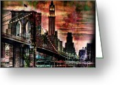 Brooklyn Bridge Mixed Media Greeting Cards - Brooklyn Bridge Greeting Card by Christine Mayfield