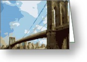 The Capital Of The World Greeting Cards - Brooklyn Bridge Color 16 Greeting Card by Scott Kelley