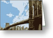 The Capital Of The World Greeting Cards - Brooklyn Bridge Color 6 Greeting Card by Scott Kelley