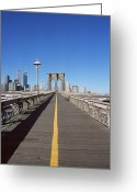 Yellow Line Greeting Cards - Brooklyn Bridge Greeting Card by Datacraft Co Ltd