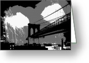The Capital Of The World Greeting Cards - Brooklyn Bridge Fireworks BW3 Greeting Card by Scott Kelley