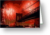 The Capital Of The World Greeting Cards - Brooklyn Bridge Fireworks Color 16 Greeting Card by Scott Kelley