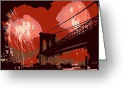 The Capital Of The World Greeting Cards - Brooklyn Bridge Fireworks Color 6 Greeting Card by Scott Kelley