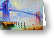 Twin Towers World Trade Center Greeting Cards - Brooklyn Bridge in a Foggy Morning Greeting Card by Ylli Haruni