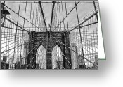 Bauwerk Greeting Cards - Brooklyn Bridge Lines Greeting Card by Jeff Stein